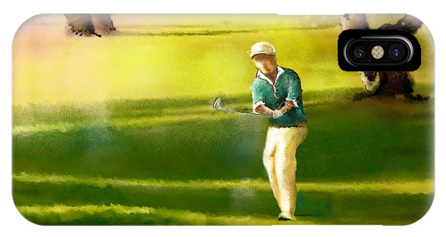 Sports IPhone X Case featuring the painting Golf In Spain Castello Masters 02 by Miki De Goodaboom