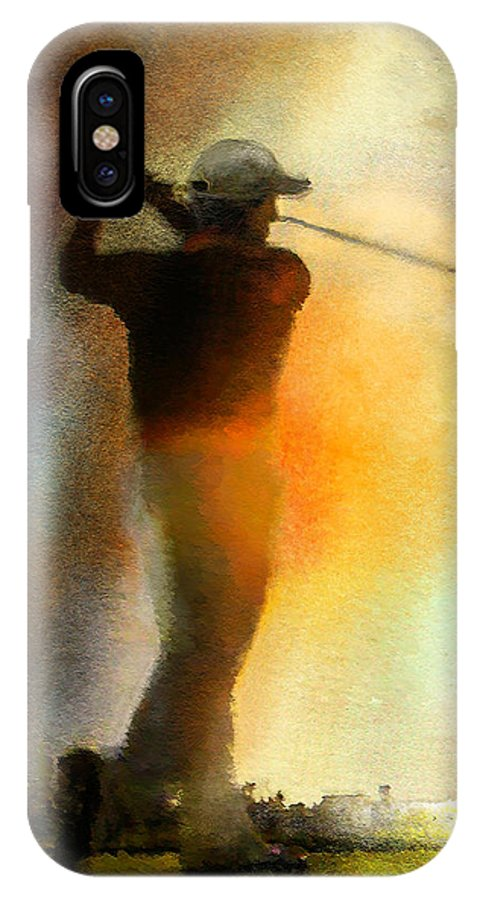 Art IPhone X Case featuring the painting Golf In The Portugal Masters 01 by Miki De Goodaboom