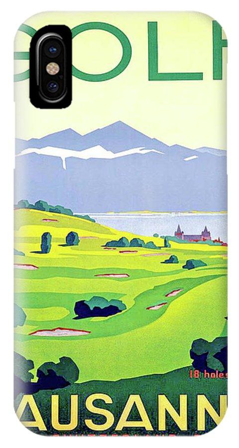 Golf IPhone X Case featuring the digital art Golf, Lausanne, Switzerland, Travel Poster by Long Shot