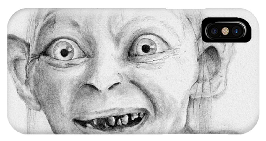 Sci Fi IPhone X / XS Case featuring the drawing Gollum by Kevin Pigg