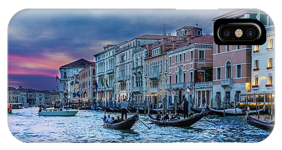 Architecture IPhone X Case featuring the photograph Gondolas At Night by Darryl Brooks