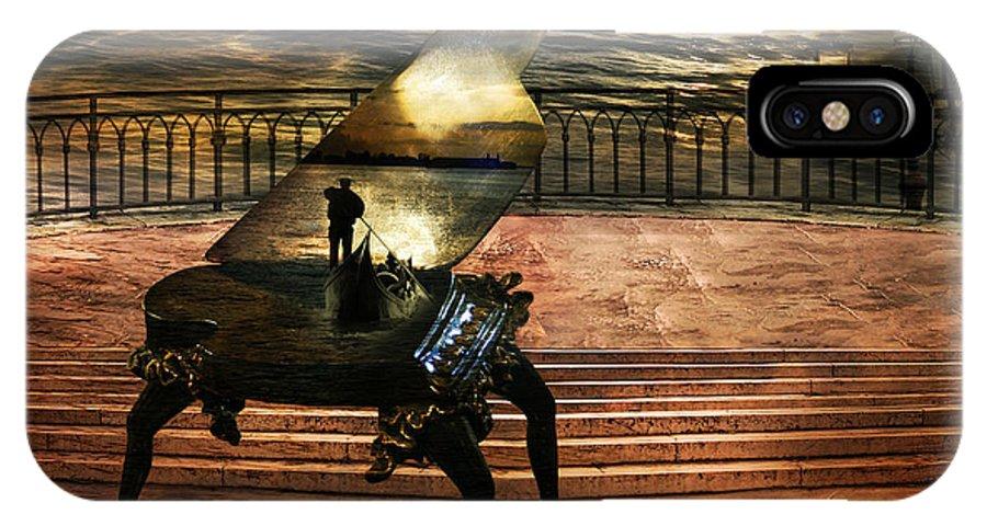 Gondola Piano Spells Journey Surrealism Terrace Gondolier Romantic Sea Red Fantastic Enchanted Alien IPhone Case featuring the photograph Gondolier Sonata by Desislava Draganova