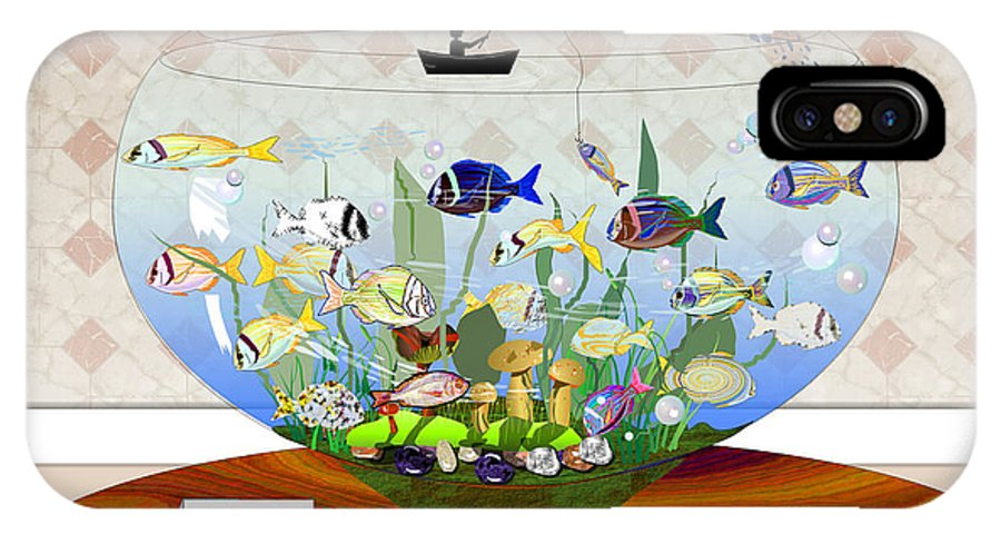Fish IPhone Case featuring the digital art Gone Fishing by Arline Wagner