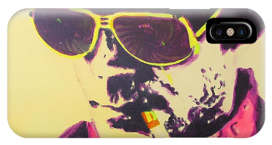 Hunter S. Thompson IPhone X Case featuring the painting Gonzo - Hunter S. Thompson by Eric Dee