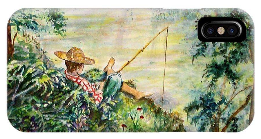 Landscape IPhone X Case featuring the painting Good Fishing by Norma Boeckler