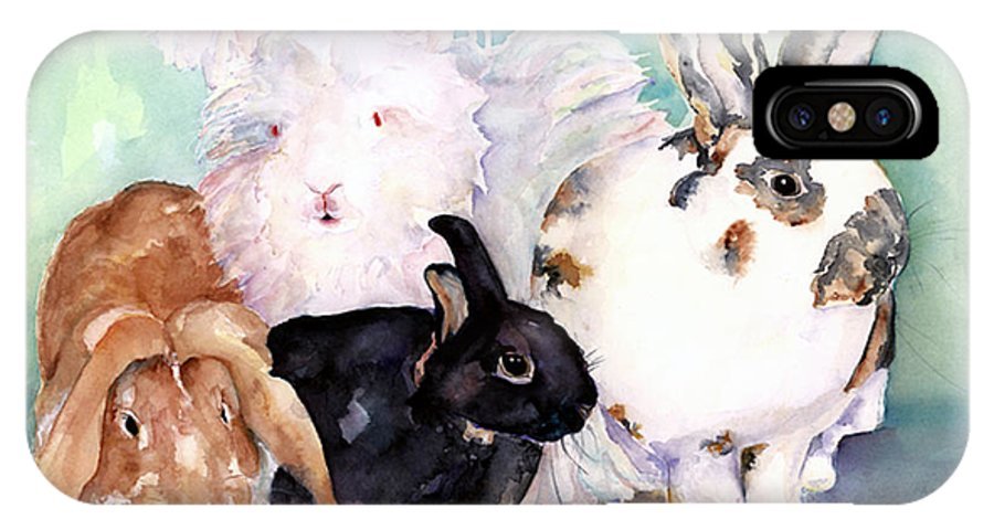 Animal Artwork IPhone Case featuring the painting Good Hare Day by Pat Saunders-White