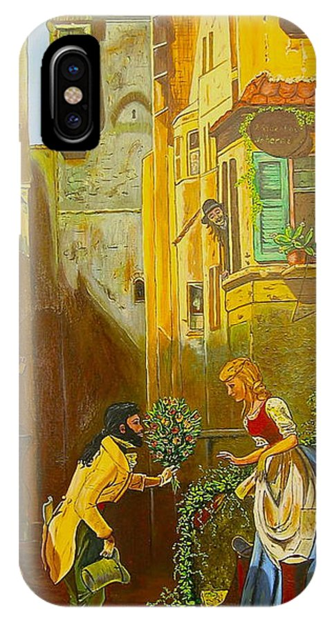 1700's European Village IPhone X Case featuring the painting Good Morning Dear by V Boge