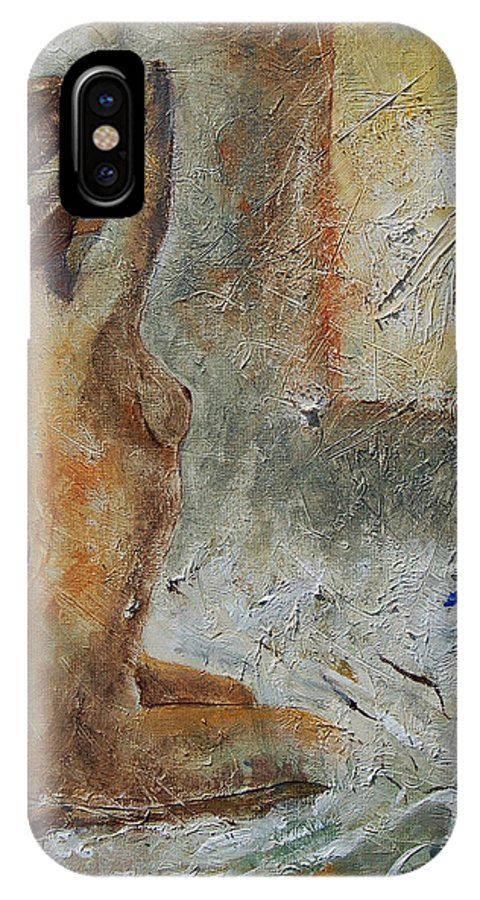 Nude IPhone X / XS Case featuring the painting Good Morning Sunshine by Pol Ledent