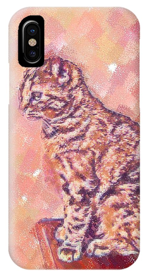 Cat IPhone X Case featuring the digital art Good Tabby by Nora Martinez