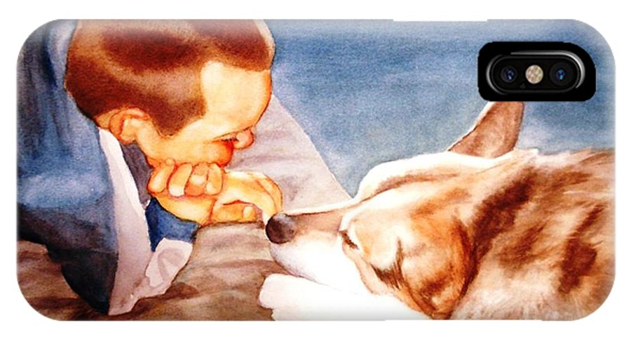 Boy & Dog IPhone X Case featuring the painting Goodbye Misty by Marilyn Jacobson
