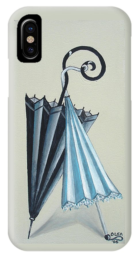 Umbrellas IPhone X / XS Case featuring the painting Goog Morning by Olga Alexeeva