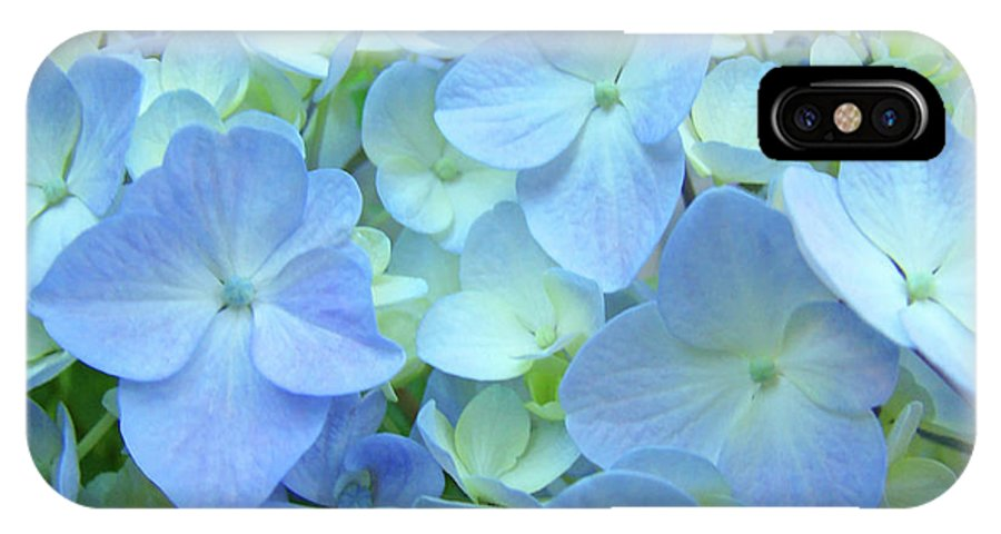 Gorgeous IPhone X Case featuring the photograph Gorgeous Blue Colorful Floral Art Hydrangea Flowers Baslee Troutman by Baslee Troutman