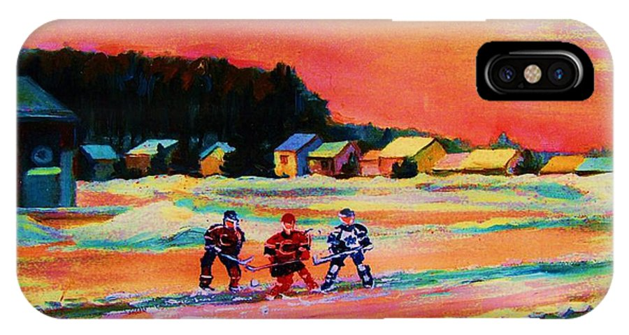 Hockey Landscape IPhone X Case featuring the painting Gorgeous Day For A Game by Carole Spandau