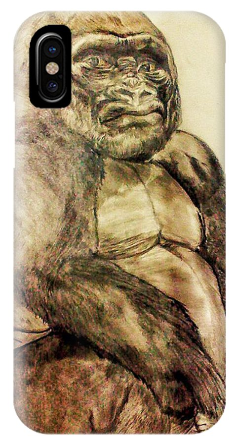 Animal Portrait IPhone X / XS Case featuring the drawing Gorilla by Brian Brown