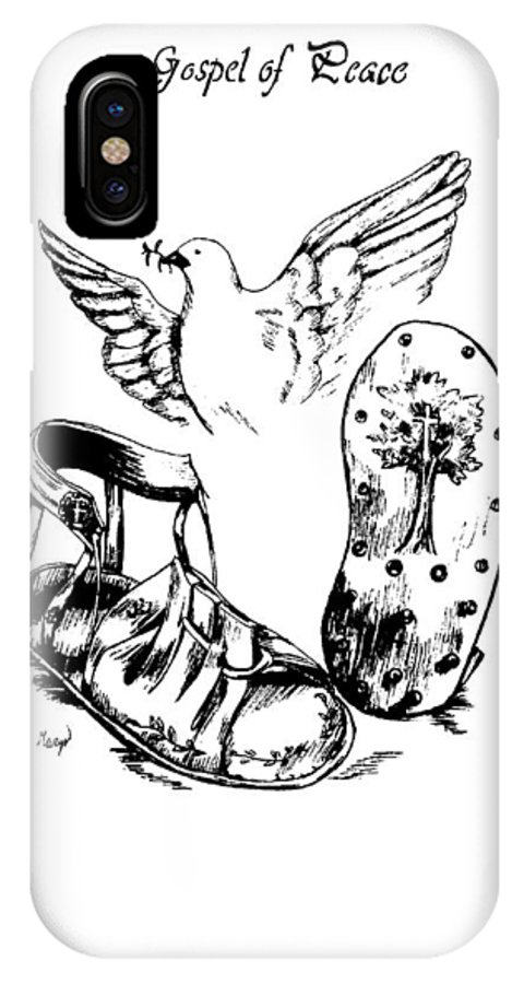 Armor IPhone X Case featuring the drawing Gospel Of Peace by Maryn Crawford