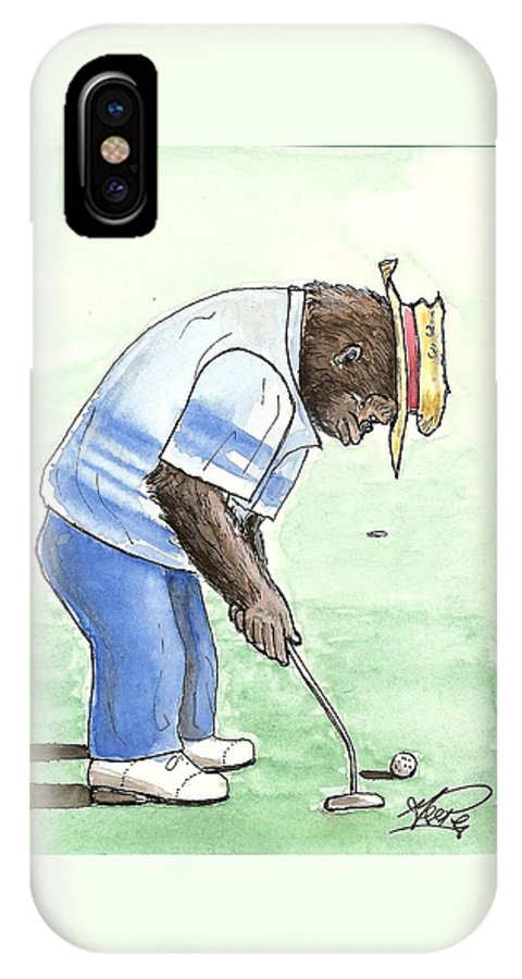 Golf IPhone X / XS Case featuring the painting Got You Now by George I Perez