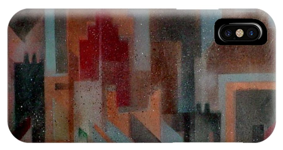 Abstract IPhone X Case featuring the painting Gothem City by Anita Burgermeister