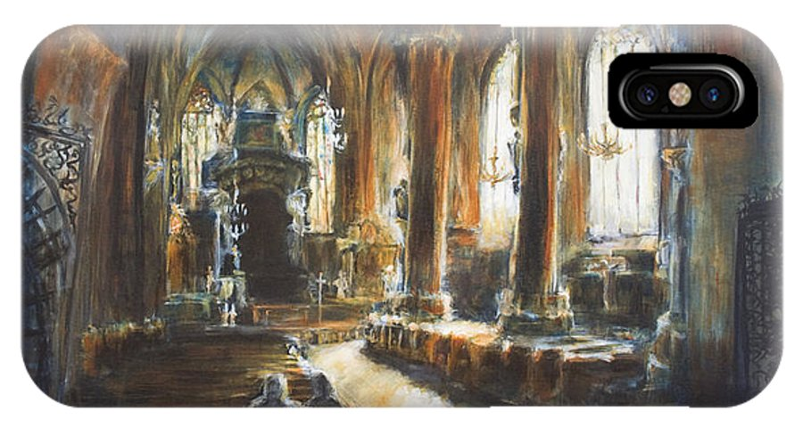 Church IPhone X Case featuring the painting Gothic Church by Nik Helbig