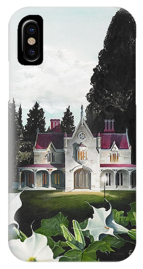 Fantasy IPhone X Case featuring the painting Gothic Country House Detail From Night Bridge by Melissa A Benson