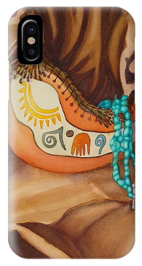 Still Life IPhone X Case featuring the painting Gourd With Turquoise by Lynn Morgan -              L L Morgan Art