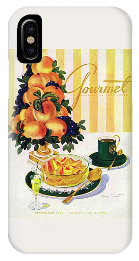 Illustration IPhone X Case featuring the photograph Gourmet Cover Featuring A Centerpiece Of Peaches by Henry Stahlhut