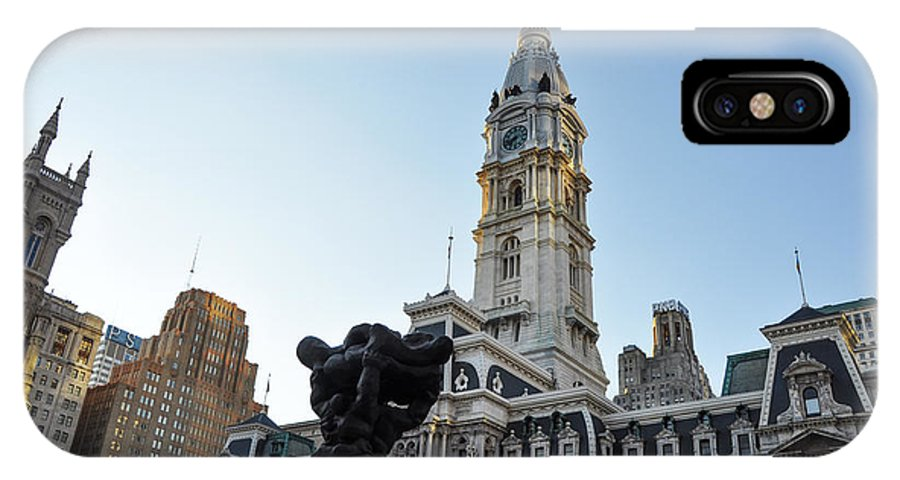 Government IPhone X Case featuring the photograph Government Of The People And City Hall Philadelphia by Bill Cannon