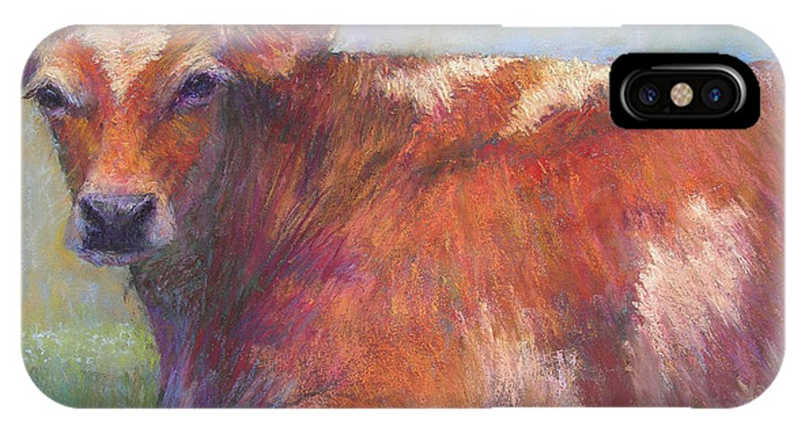 Cattle IPhone X Case featuring the painting Grace by Susan Williamson