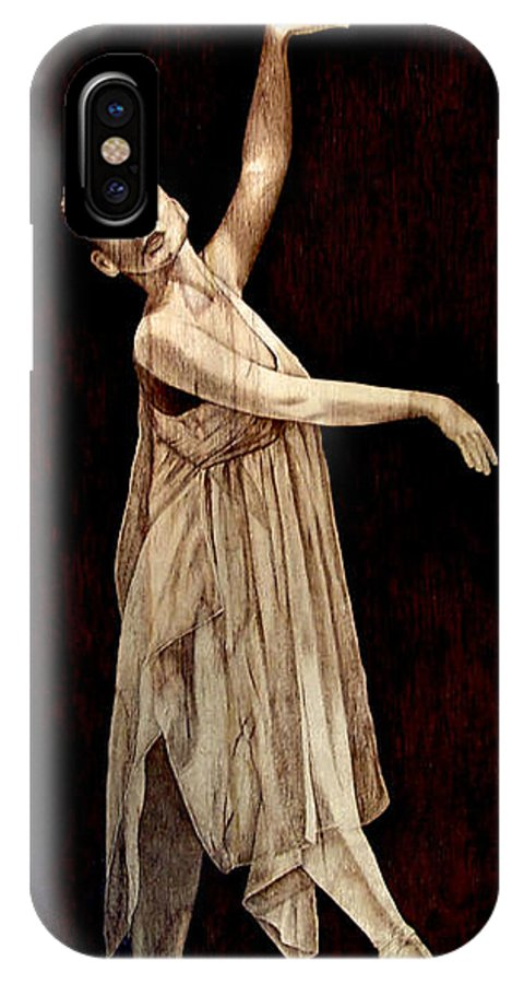 Pyrography; Woodburning; Ballerina; Light; Portrait; Shoe; Stage; Dress; Crown; Tiara; Dance; IPhone X Case featuring the pyrography Grace Touching Light by Jo Schwartz