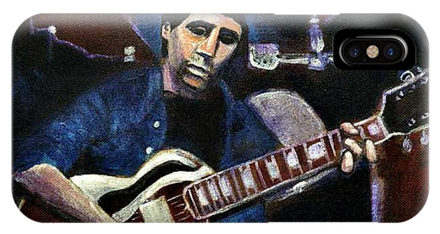 Shining Guitar IPhone X Case featuring the painting Graceland Tribute To Paul Simon by Seth Weaver