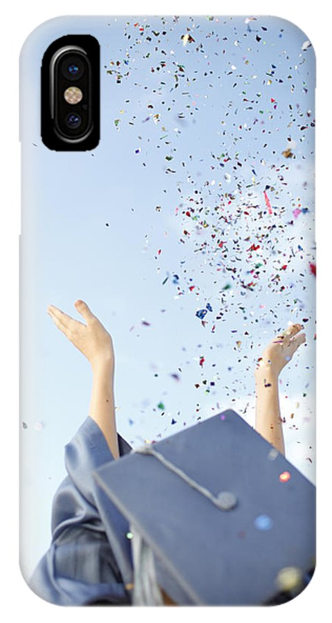 Achievement IPhone X Case featuring the photograph Graduate Tossing Confetti Seen by Gillham Studios
