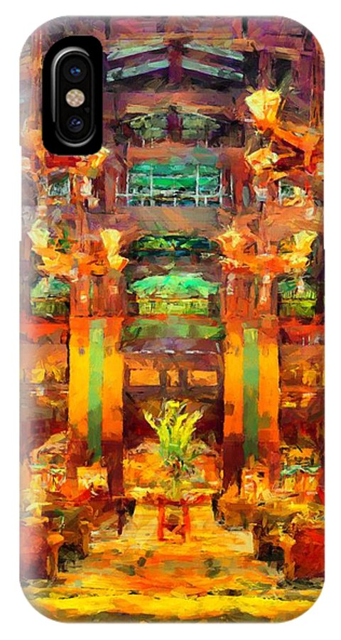 Grand Californian Resort IPhone X Case featuring the digital art Grand Californian Resort Lobby by Caito Junqueira