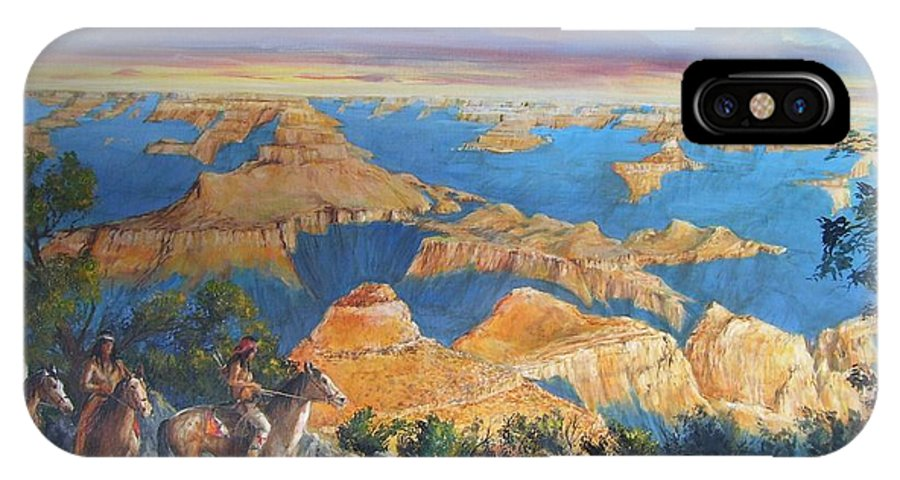 Grand Canyon IPhone Case featuring the painting Grand Canyon Visitors At Sunrise by Perrys Fine Art