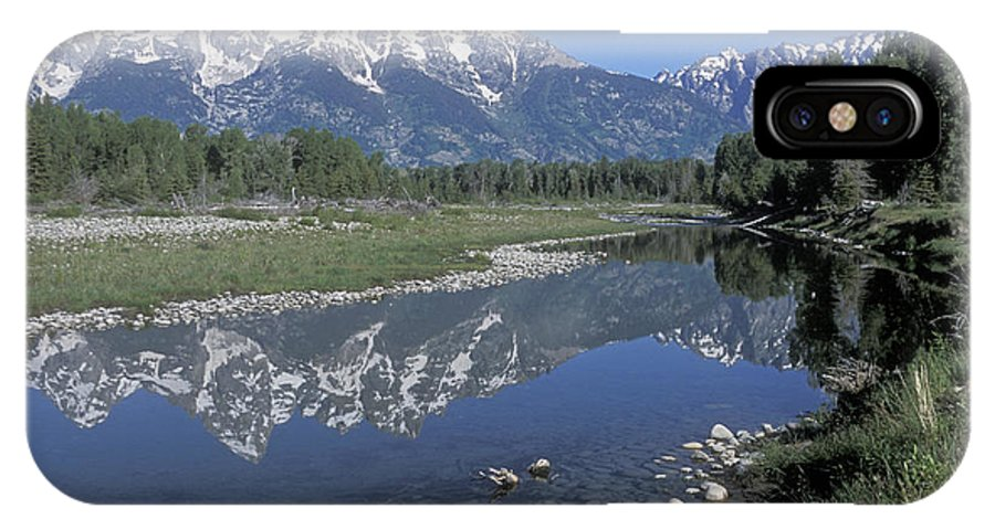 Grand Teton IPhone X Case featuring the photograph Grand Teton Reflection At Schwabacher Landing by Sandra Bronstein