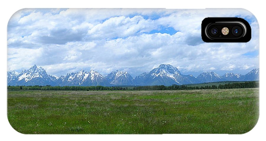 Grand IPhone X Case featuring the photograph Grand Tetons Meadow Panarama by George Jones