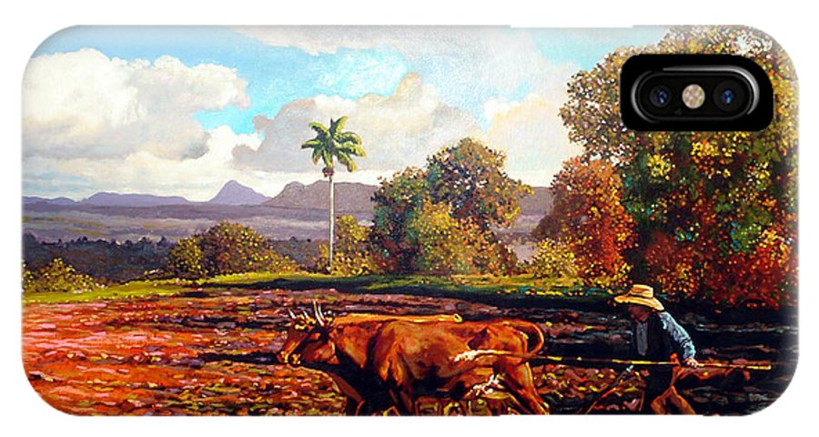Cuban Art IPhone X Case featuring the painting Grandfather Farm by Jose Manuel Abraham