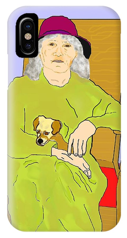 Grandmother IPhone X Case featuring the painting Grandma And Puppy by Pharris Art