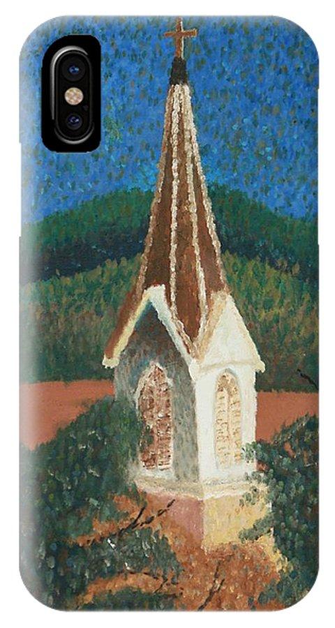 Grandma's Church IPhone X Case featuring the painting Grandmas Church by Jacqueline Athmann