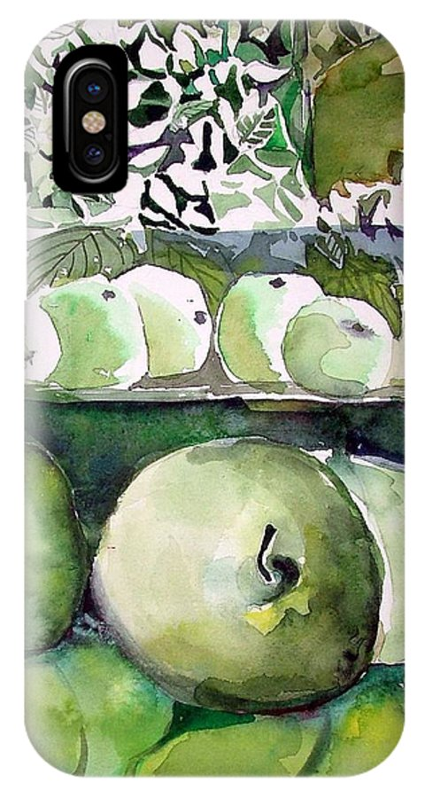 Apple IPhone Case featuring the painting Granny Smith Apples by Mindy Newman