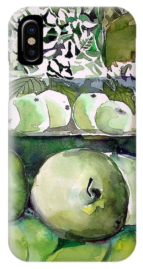Apple IPhone X / XS Case featuring the painting Granny Smith Apples by Mindy Newman
