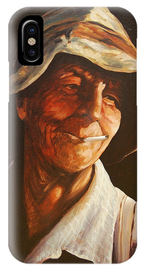 Male IPhone X Case featuring the painting Grape Picker by Rick Nederlof