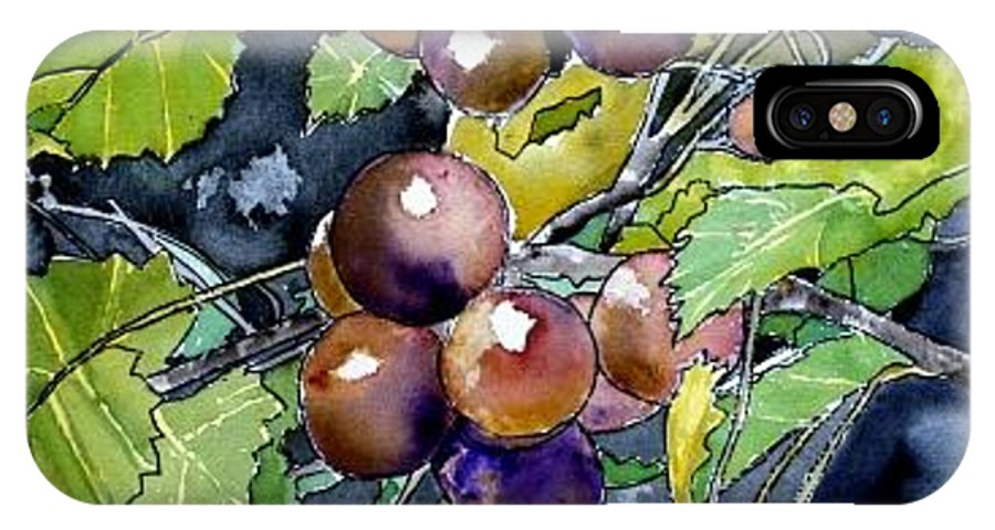 Grape IPhone X Case featuring the painting Grape Vine Still Life by Derek Mccrea
