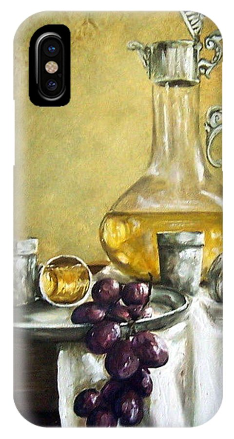 Still Life Cristal Bottle Grapes Fruits Glass IPhone Case featuring the painting Grapes And Cristals by Natalia Tejera