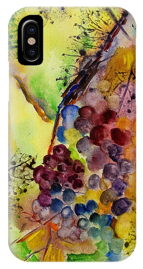 Watercolor IPhone X Case featuring the painting Grapes And Leaves IIi by Karen Fleschler