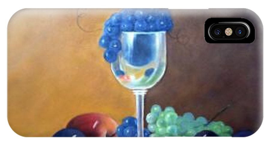 Wine Galsses With Grapes IPhone X / XS Case featuring the painting Grapes And Plums by Susan Dehlinger