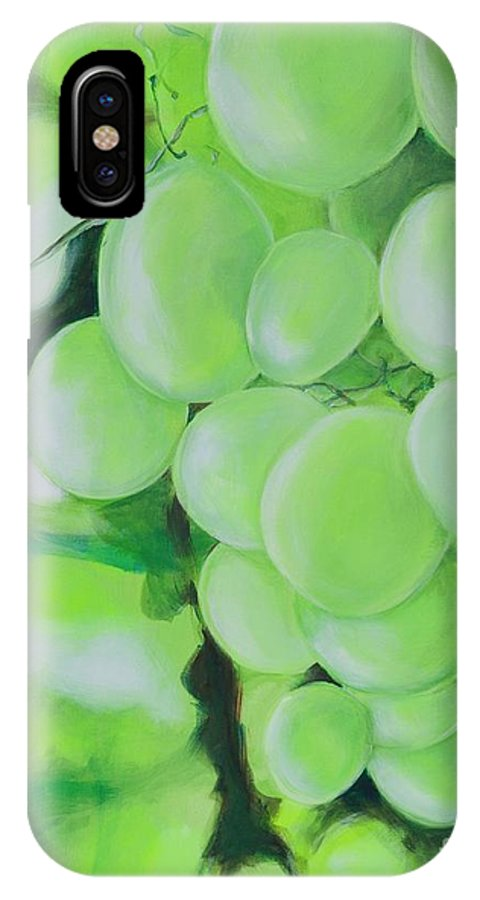 Grapes IPhone X Case featuring the digital art Grapes by Elisabeth Skajem Atter