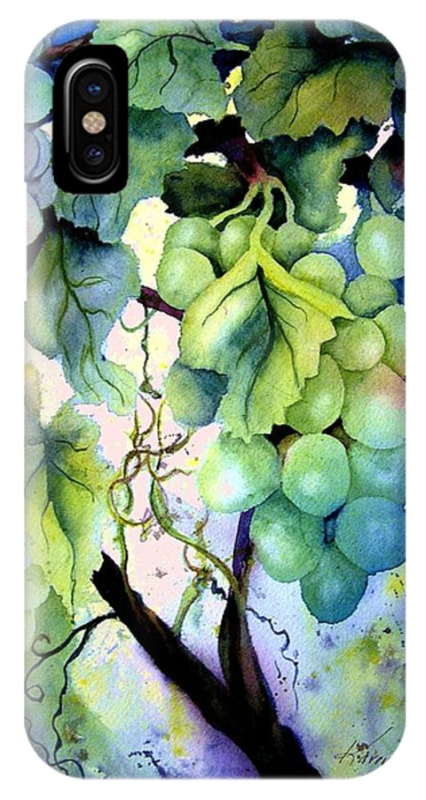 Grapes IPhone X Case featuring the painting Grapes II by Karen Stark