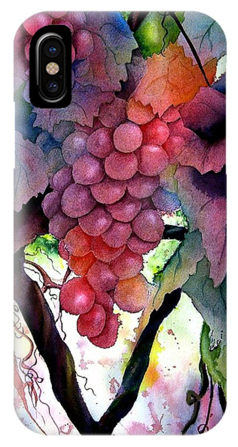 Grape IPhone X / XS Case featuring the painting Grapes IIi by Karen Stark