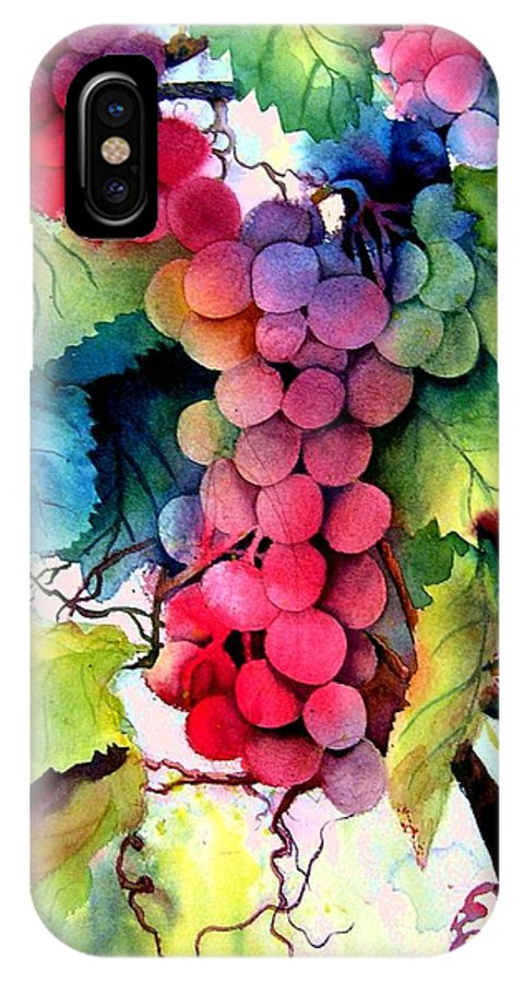 Grapes IPhone X Case featuring the painting Grapes by Karen Stark