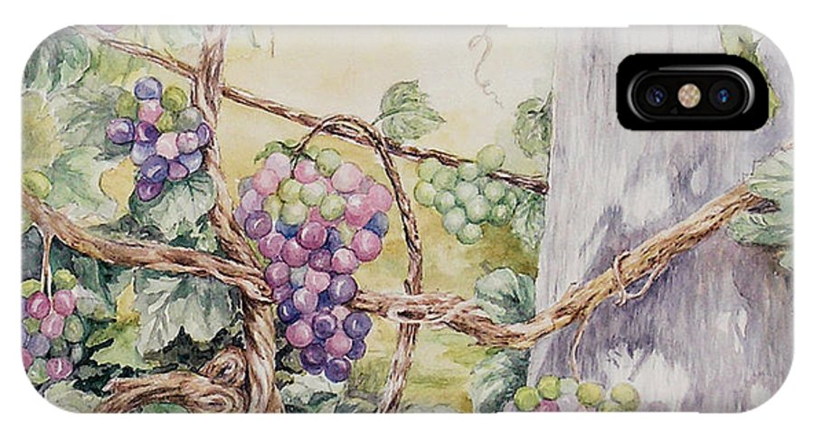 Vines IPhone X Case featuring the painting Grapevine Laurel Lakevineyard by Valerie Meotti