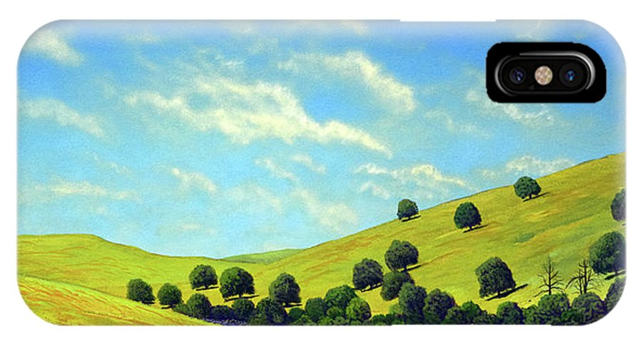 Wilderness IPhone X / XS Case featuring the painting Grassy Hills At Meadow Creek by Frank Wilson